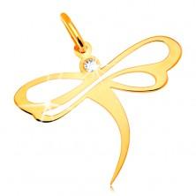Pandantiv din aur galben de 14K- libelulă cu zirconiu încorporat și decupaje pe aripi