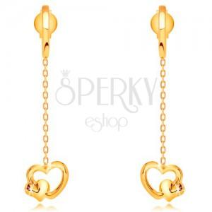 Cercei din aur galben de 14K -  inimă atârnată pe lanț, șuruburi