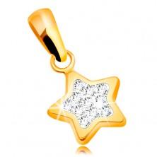 Pandantiv din aur galben 585- stea în cinci colțuri, zirconii transparente