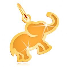 Pandantiv din aur galben de 14K - elefant mic, plat cu centru mat