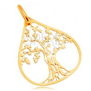 Pandantiv din aur galben de 14K - copac în contur mare în formă de picătură