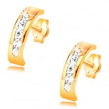 Cercei din aur galben de 14K - arc decorat cu linie de zirconii transparente