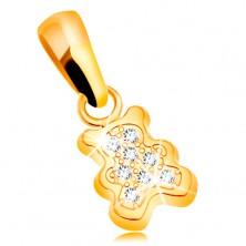 Pandantiv din aur galben 585 - urs mic decorat cu zirconii transparente