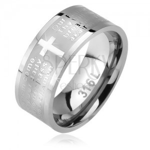 """Inel din oțel, bandă mată cu cruce și """"rugăciunea Domnului"""", 6 mm"""