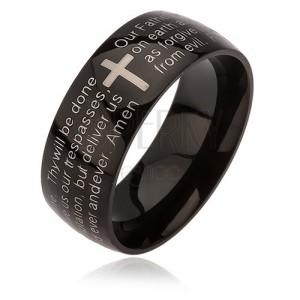 """Inel negru din oțel chirurgical, cruce argintie, """"rugăciunea Domnului"""", 6 mm"""