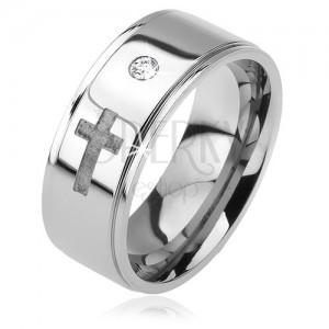 Inel din oțel - bandă proeminentă, zirconiu transparent, cruce mată, 6 mm
