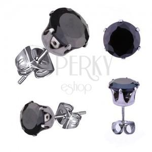 Cerceii argintii din oțel de 316L, culoare argintie, zirconiu rotund, negru, 3 mm