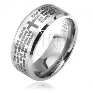 """Inel argintiu din oțel chirurgical, margini îndoite, """"rugăciunea Domnului"""", 6 mm"""