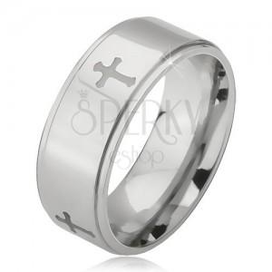 Inel argintiu din oțel, cruci gravate și margini îndoite, 6 mm