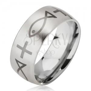 Inel argintiu, mat din oțel chirurgical, print de cruce și pește, 6 mm