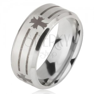 Inel argintiu din oțel de 316L, print de benzi și cruci, 6 mm