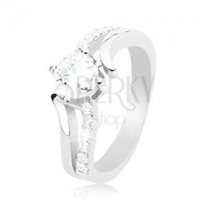 Inel din argint 925, brațe unduite, separate, zirconiu rotund și transparent