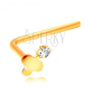Piercing îndoit pentru nas, din aur galben de 14K, trifoi lucios și zirconiu transparent