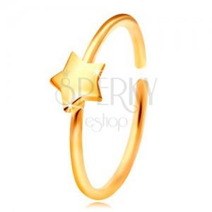 Piercing pentru nas, din aur de 14K, cerc lucios cu stea, aur galben