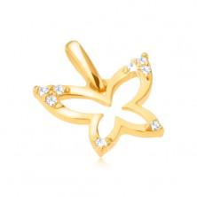 Pandantiv din aur 585 - contur strălucitor de fluture, vârfuri de aripă cu zirconiu