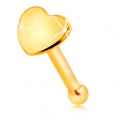 Piercing drept pentru nas, din aur galben de 14K- inimă mică, lucioasă