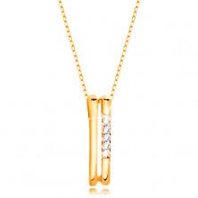 Colier din aur galben de 14K - două linii verticale, subțiri, linie de zirconii transparente