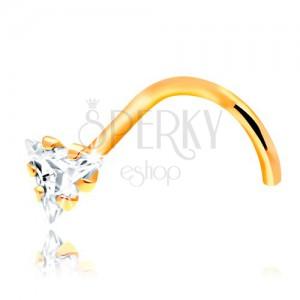 Piercing îndoit pentru nas - aur galben de 14K, zirconiu transparent, triunghiular