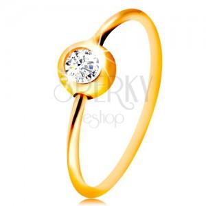 Piercing pentru nas, din aur de 14K- aur galben, cerc lucios cu zirconiu transparent în montură