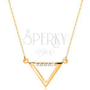 Colier din aur galben de 14K- contur de triunghi decorat cu zirconii transparente