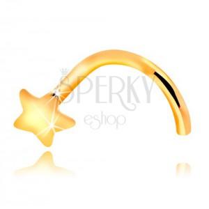 Piercing pentru nas, din aur galben de 14K - îndoit, stea mică
