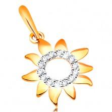 Pandantiv din aur galben 585, soare cu cerc lucios