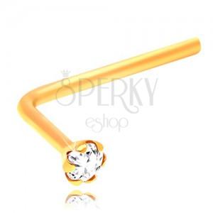 Piercing îndoit pentru nas, aur galben de 14K, zirconiu transparent, șlefuit, 1,5 mm