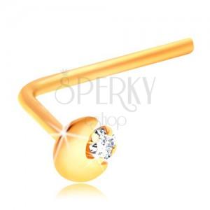 Piercing îndoit pentru nas, din aur galben de 14K, semilună, zirconiu transparent