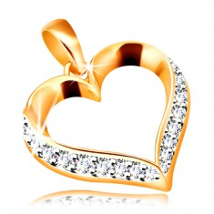 Pandantiv din aur 585 - contur inimă asimetrică cu zirconii transparente