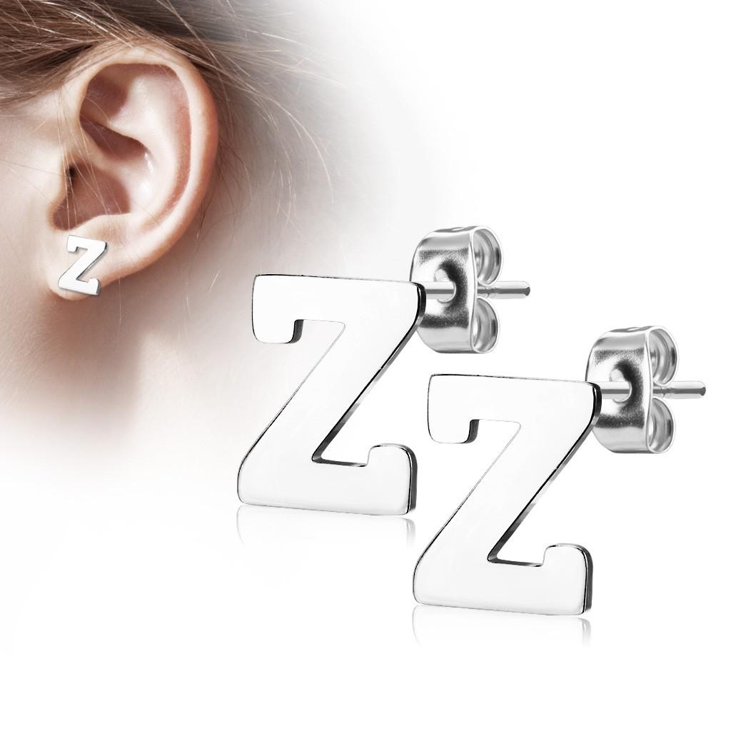 Bijuterii eshop - Cercei din oțel 316L - litera mare Z, culoare argintie AB12.17