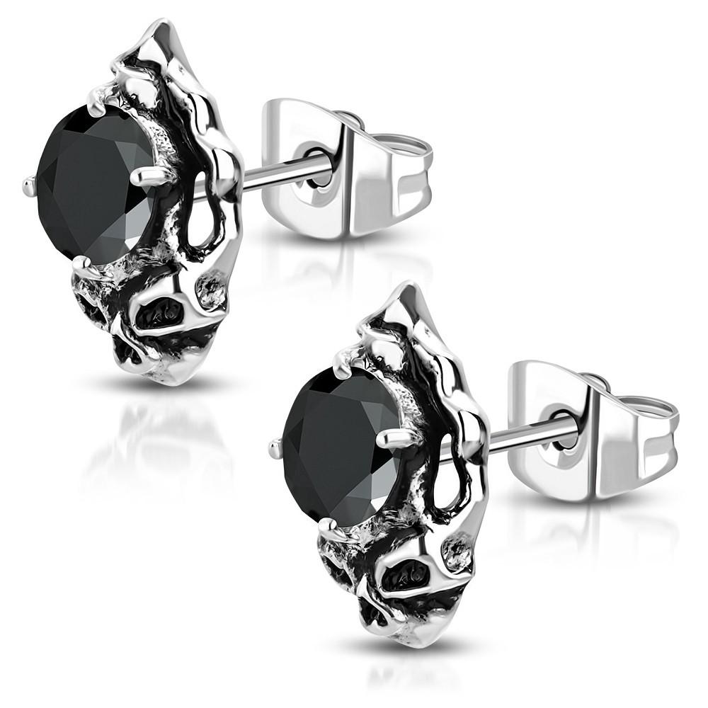 Bijuterii eshop - Cercei din oțel - craniu patinat cu zirconiu negru AA08.11