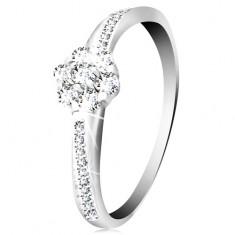 Inel din aur alb 14K - floare lucioase și zirconii transparente, brațe decorate