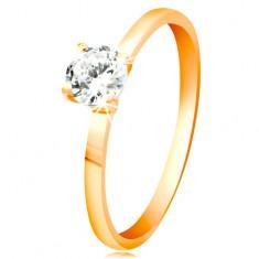 Inel din aur galben 14K - zirconiu transparent, lucios în montură lucioasă proeminentă