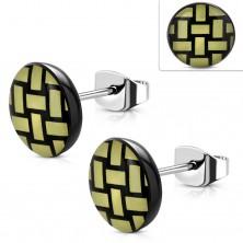Cercei din oțel 316L, cerc acrilic cu model de împletitură galben cu negru
