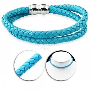 Colier din piele sintetică de culoare albastru deschis, model împletitură, închidere magnetică