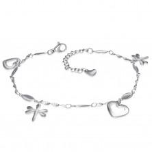 Brățară din oțel pentru mână sau picior, de culoare argintie, pandantive - inimi și libelule