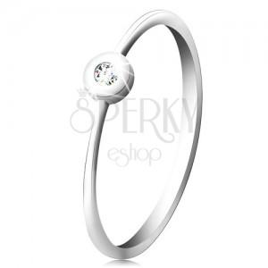 Inel din aur alb 14K - diamant transparent, strălucitor în montură strălucitoare, brațe înguste