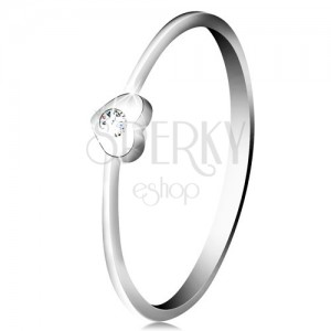 Inel cu diamant din aur alb 14K - inimă cu diamant transparent