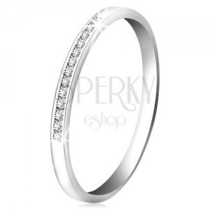 Inel din aur alb 14K - linie lucioasă cu mici diamante transparente