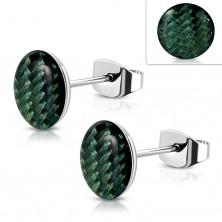 Cercei din oțel, cerc acrilic cu model verde închis, smalț
