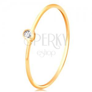 Inel din aur 585 cu diamante - diamant transparent strălucitor în montură strălucitoare, brațe înguste