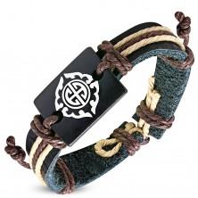 Brățară din bandă neagră de piele sintetică și șnururi maro, simbol tribal
