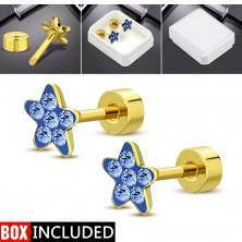 Cercei din oțel cu șurub, aurii, floare strălucitoare din zirconiu albastru