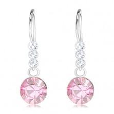 Cercei din argint 925, cristale Swarovski transparente și roz deschis