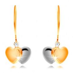 Cercei din aur 14K - inimi bicolore și zirconiu transparent pe tortițe