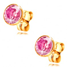 Cercei din aur galben 14K - zirconiu roz deschis rotund în montură, 5 mm