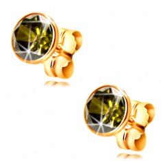 Cercei din aur galben 14K - zirconiu oliv rotund în montură, 5 mm