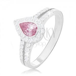 Inel de logodnă din argint 925, lacrimă roz în mijlocul celor două linii cu zirconii