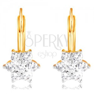 Cercei din aur 585 - floare strălucitoare din zirconii rotunde, transparente