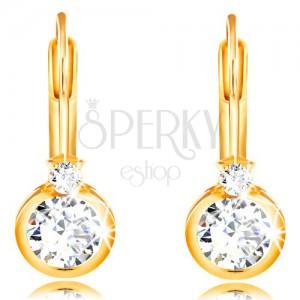 Cercei din aur galben 14K - zirconiu rotund în montură și zirconiu mic